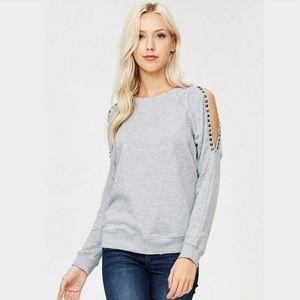 OLLIE CHLOE JOLIE Studded ColdShoulder Sweatshirt